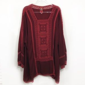 RARE JOHNNY WAS | crochet peasant top tunic lace